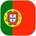 country, europe, flag, national, portugal, rounded, square icon