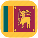 country, flag, lanka, national, rounded, square, sri icon
