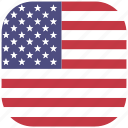 america, country, flag, national, rounded, square, united states icon