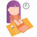 coworker, dialy, girl, office, routine, work, working icon