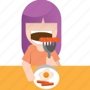 ate, breakfast, dialy, eat, eating, girl, routine icon