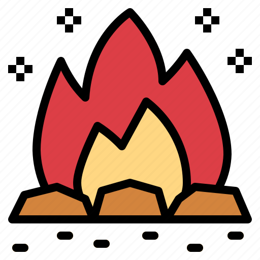 bonfire, burn, campfire, travel icon