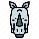 animals, front, head, rhino icon
