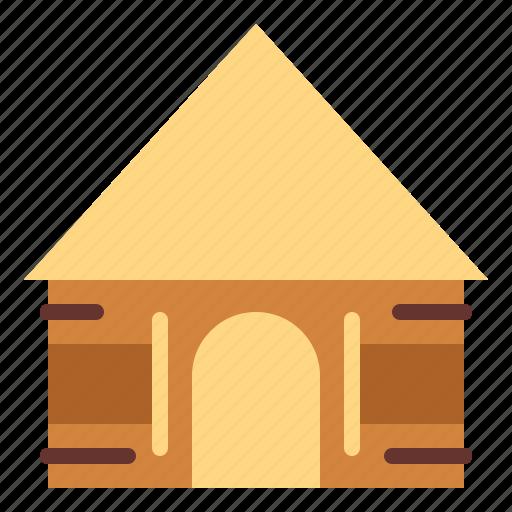 architecture, hut, planks, safari icon