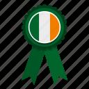 badge, celebration, decoration, ireland, irish, ribbon, rosette icon