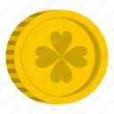 clover, coin, gold, holiday, irish, luck, wealth icon
