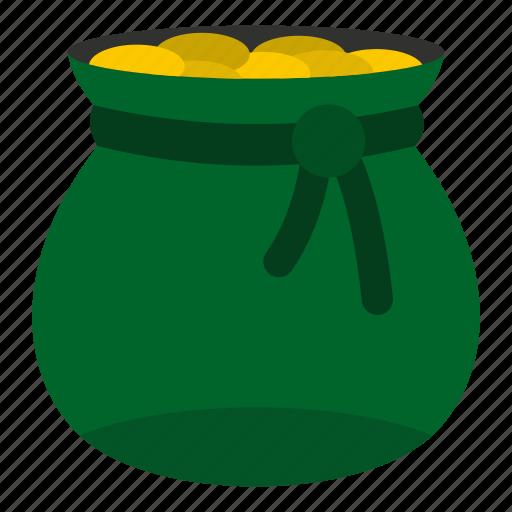 bag, coin, gold, holiday, money, patrick, saint icon
