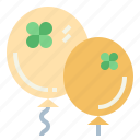 balloons, celebration, clover, decoration icon