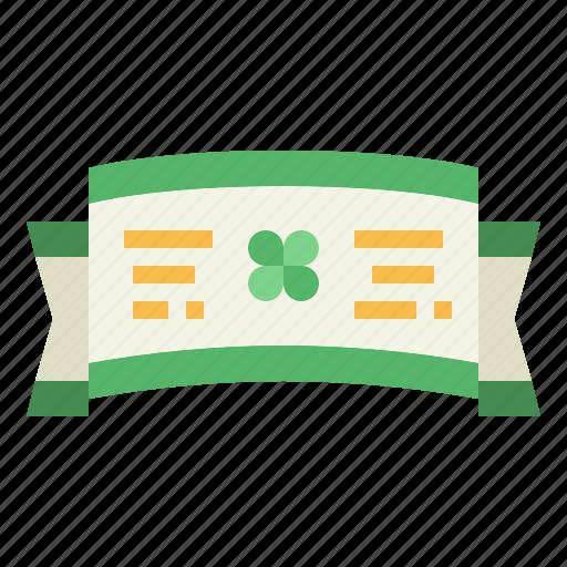 banner, clover, ribbon, shape icon