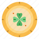 clover, coin, cultures, gold icon
