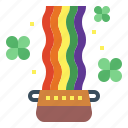 clover, pot, rainbow, weather icon