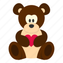 bear, cute, day, heart, love, teddy, valentine icon