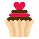 cake, cup, cupcake, dessert, food, heart, pink icon