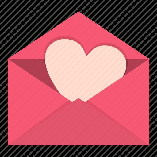 envelope, heart, letter, love, paper, pink, valentine icon