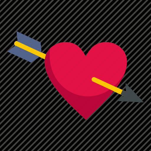 arrow, heart, love, passion, romance, romantic, valentine icon