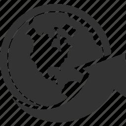 arrow, buy, shop, world icon