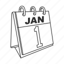 calendar, first day, first month, january, january 1, month, new year icon