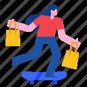 skateboard, shoppingbag, buy, sale, promotion, purchase icon