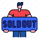sold, out, sale, advertising, man, banner icon