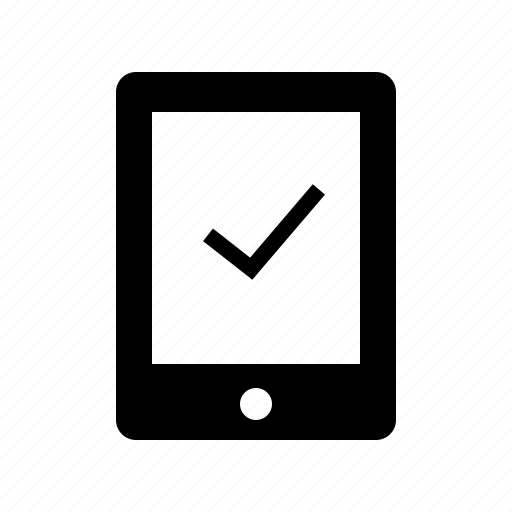 booking, check, convinient, done, ok, success, tablet, useability icon