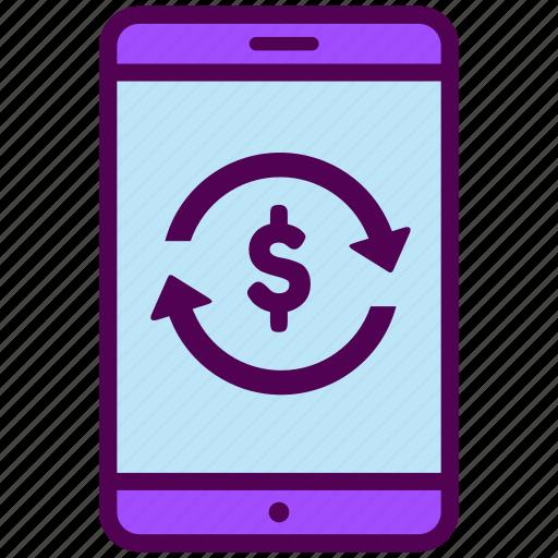 cash, flow, mobile, online, phone, sales, shop icon