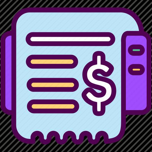 online, print, receipt, sales, shop icon