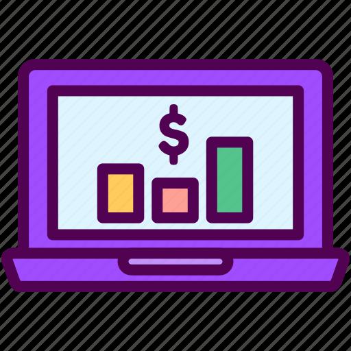 laptop, online, sales, shop, statistic icon