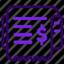 online, receipt, sales, shop, shopping icon