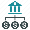 bank branches, banking, credits, financial transactions, payments, payout, relations icon
