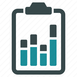 analysis, analytics, bar chart, clipboard, diagram, report, statistics icon