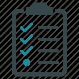 accept, check, checklist, clipboard, exam, list, test icon