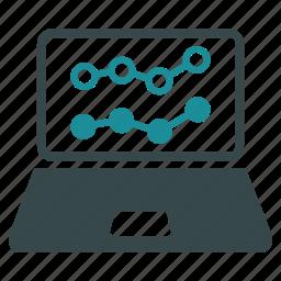 financial, laptop, lline chart, monitor, screen, statistics, trends icon