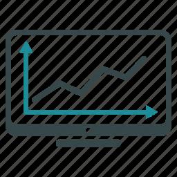 financial, graph, lline chart, monitor, report, screen, statistics icon