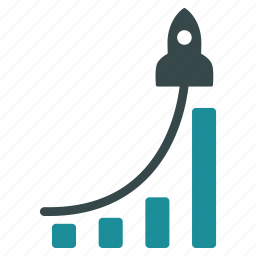 analytics, business plan, financial, growth, rocket, success story icon