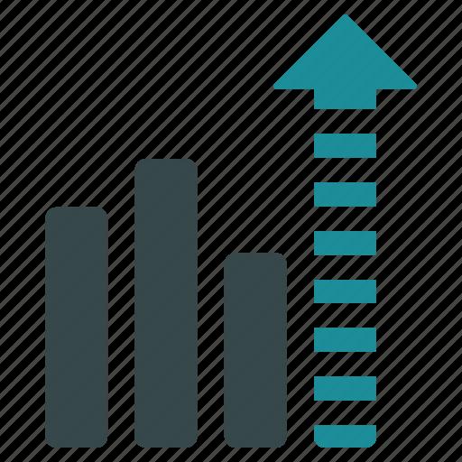analytics, arrow, bar chart, future, growth, prediction, sales icon