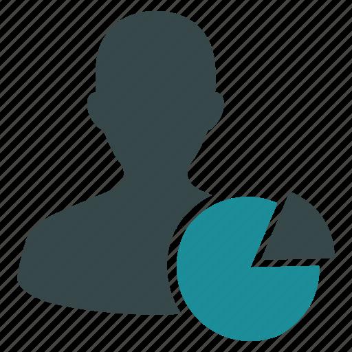 account, pie chart, profile, report, statistics, usage, user icon