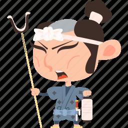 asian, avatar, character, edo, guard, japan, japanese, kimono, man, mascot, ninja, police, samurai, soldier, team member, warrior icon