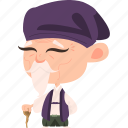 old, character, japanese, elderly, samurai, mascot, kimono, asian, mature, ninja, team member, japan, man, avatar icon