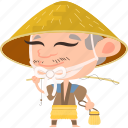 asian, avatar, character, fisherman, fishing rod, hat, japan, japanese, kimono, man, mascot, ninja, samurai, team member icon