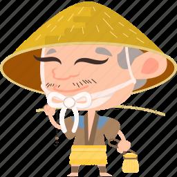 asian, avatar, character, fisherman, fishing rod, hat, japan, japanese, kimono, man, mascot, ninja, samurai, team member icon