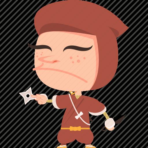 asian, avatar, character, guard, japan, japanese, kimono, kunai, man, mascot, ninja, samurai, shuriken, team member, warrior icon