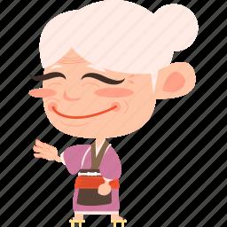 asian, avatar, character, japan, japanese, kimono, lady, mascot, mature, ninja, old, samurai, team member, woman icon