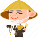 asian, avatar, character, japan, japanese, kimono, man, mascot, monk, ninja, old, samurai, team member icon