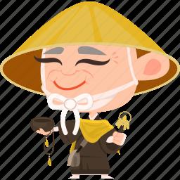 asian, avatar, character, japan, japanese, kimono, man, mascot, monk, ninja, old, samurai, team member icon