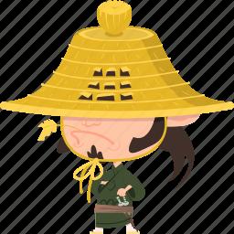 asian, avatar, character, guard, hat, japan, japanese, kimono, man, mascot, ninja, ronin, samurai, team member, warrior icon
