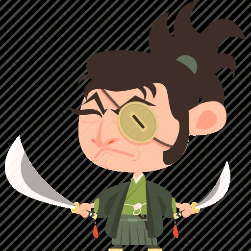 asian, avatar, character, guard, japan, japanese, katana, kimono, man, mascot, ninja, samurai, soldier, sword, team member, warrior icon