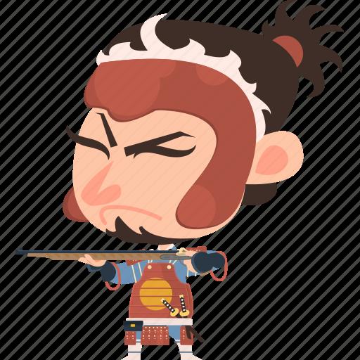 ashigaru, asian, avatar, character, guard, gun, japan, japanese, kimono, man, mascot, ninja, rifle, samurai, soldier, tanegashima, team member, warrior icon