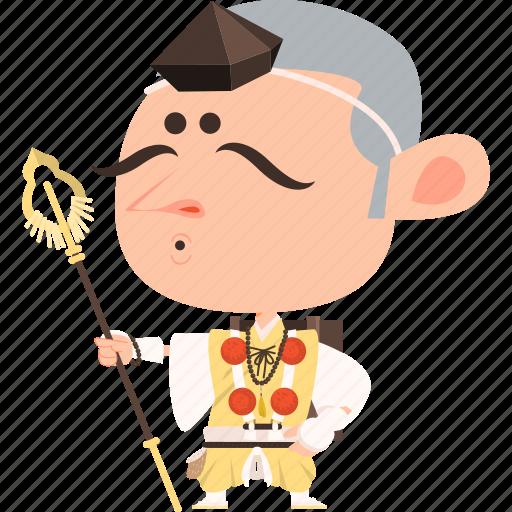 asian, avatar, character, guard, japan, japanese, kimono, man, mascot, ninja, samurai, spear, team member, warrior, yamabushi icon