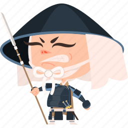 asian, avatar, character, guard, hat, japan, japanese, kimono, man, mascot, ninja, samurai, spear, team member, warrior, yari ashigaru icon