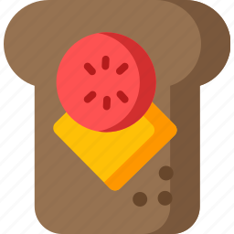 bread, cheese, food, meal, sandwich, slice, toast icon